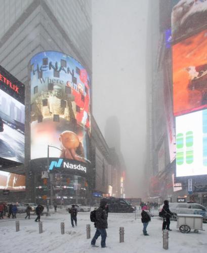 Times square snow chaos