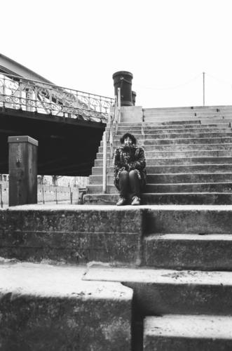 Kalt auf der Treppe